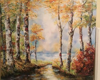 Nature with trees and lagoon, impressionism 81cmX65cm (32X25,59 inches)