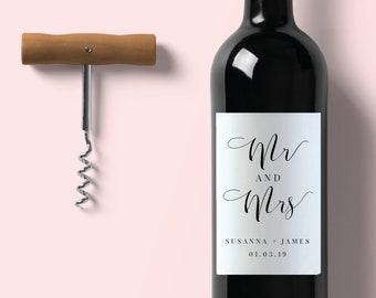 Wedding Wine Label-Wedding Label-Wine Label-Editable Wine Label-PDF-Instant Download-Mr and Mrs-#SN015_WL