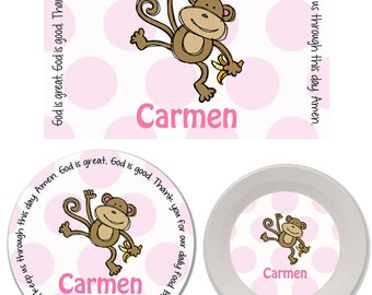 Personalized Kids Melamine Plate, Bowl and Placemat Set - Melamine Dinnerware Set - Mealtime Set - Kids Plate and Bowl Set - Monkey Girl