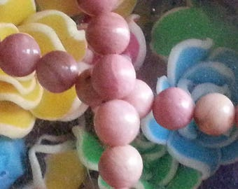 10 6 mm rhodonite beads, hole 1 mm