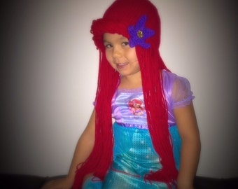 Little mermaid Ariel costume Hair Wig -Halloween Disney Princess - Mermaid Red Hair - Kids Halloween Costume - Toddler Halloween - Baby kids  sc 1 st  Etsy & Disney Descendants 2 Uma Hair Wig Halloween Disney