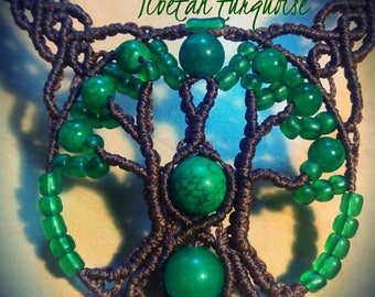 Tree of Life makrame necklace with Nefrit and Tibetan green turquoise