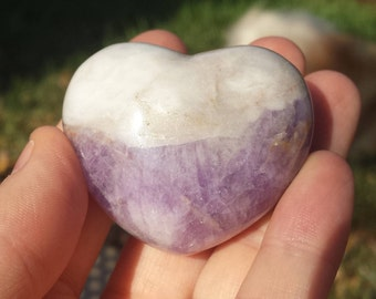 Chevron Amethyst Puffy Heart