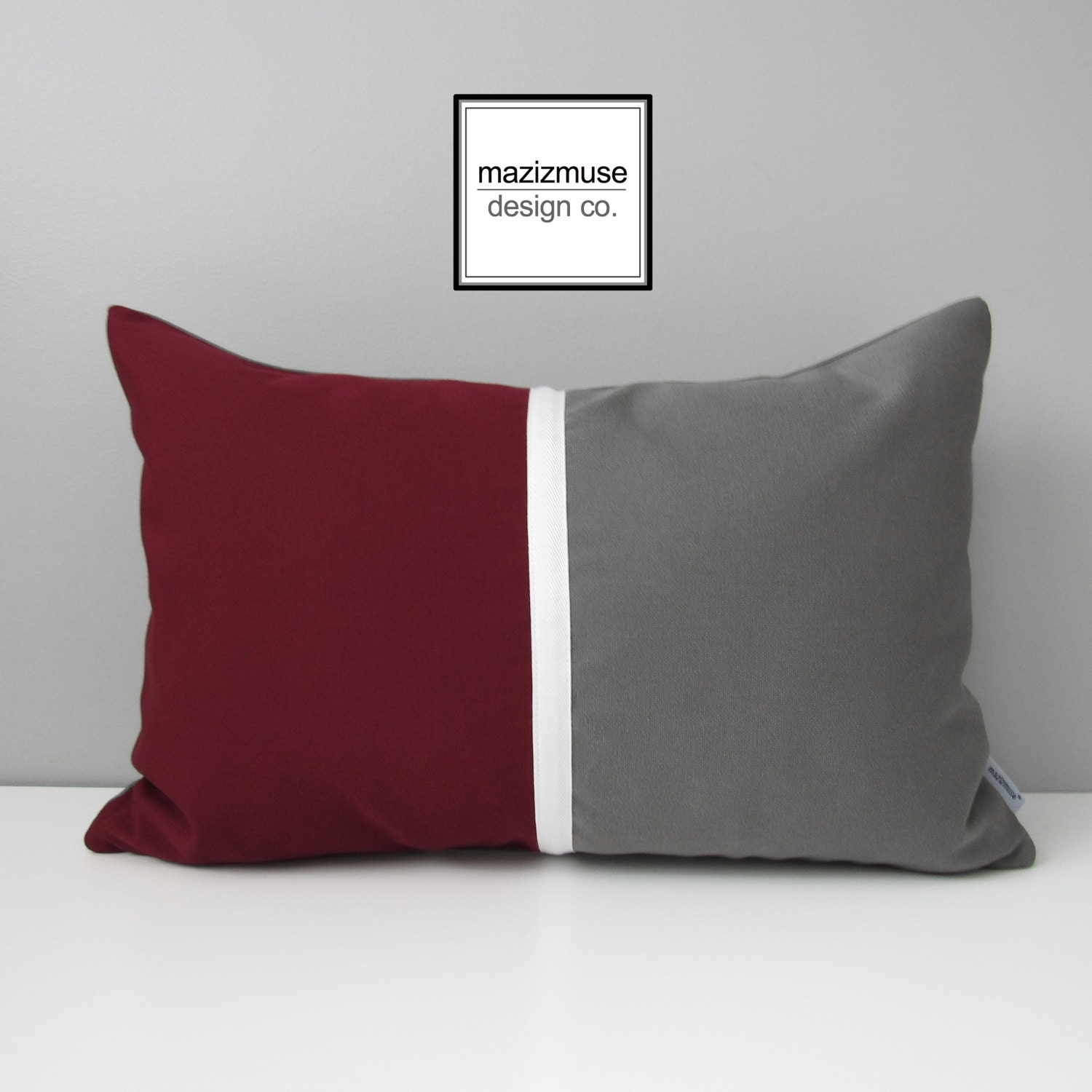 🔎zoom. burgundy  grey pillow cover modern outdoor pillow cover
