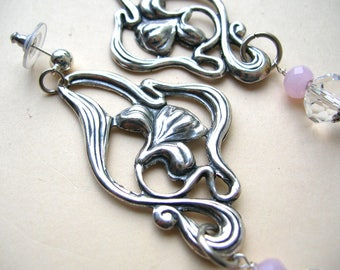 Long Art Nouveau Earrings - Floral Earring