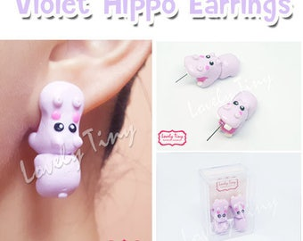 Kawaii Earring, Violet Hippo Bite Animal Earrings Stud Polymer Clay Handmade 3D Earring, Gift for Cutie woman girl, Ready to be Gift