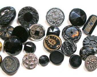 2 dozen Victorian & vintage black glass. Antique glass BUTTONS. Shabby chic. 24 pieces.
