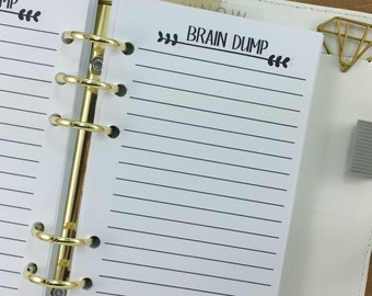 Personal Brain Dump printed planner insert refill - lined paper - note taking - Personal Wide