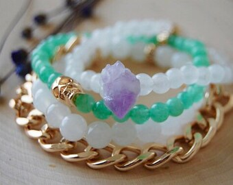 Quartz aventurine amethyst skull and chain WITCHING HOUR bracelet stack