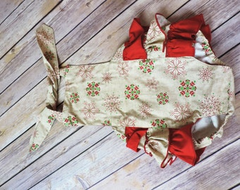 Traditional Christmas romper, sitter photo prop, ready to send, baby photo prop, Christmas photo prop, girls photo prop, baby girls