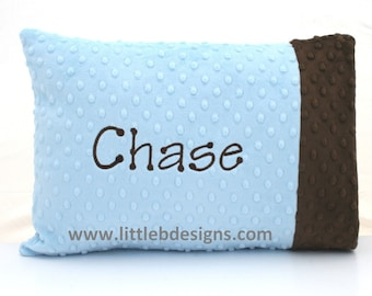 Personalized Minky Toddler Pillow Case and Pillow - Over 24 Minky Colors to Choose From