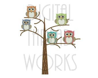 Owls In A Tree Embroidery Design for 4x4 5x7 & 6x10 inch hoops. Instant Download. Cute Hoot Owls. Item# OIAT017