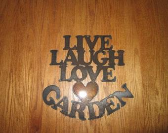 Live, Laugh, Love, Garden-Metal Garden Art