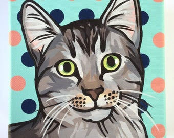 Custom Pet Portrait Dog Cat Mini Painting Acrylic on Canvas (5 x 5 in)