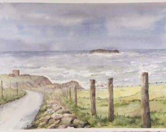 Glashedy and the Isle of Doagh. Ballyliffin, Ireland. Irish Watercolour, Donegal. Inishowen.