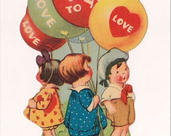 CHILDREN and BALLOONS VALENTINE, Flat Back w/easel, 1930's, Made in U.S.A., Vintage Holiday Greeting Card