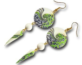 Chandelier green earrings Chandelier hippie earrings Green earrings Hippie earrings Green jewelry Hippie jewelry Green Gift for women
