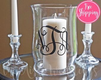 Unity Candle Holder Set - Vine Monogram - FREE SHIPPING - Unity Ceremony - Wedding Accessory - Union Ceremony - Glass Unity Candle Holder