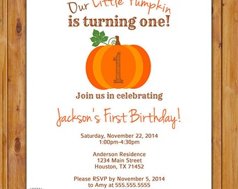 Our Little Pumpkin is Turning One First Birthday Invite Autumn Chevron Printable Invitation 5x7 Digital JPG (365)