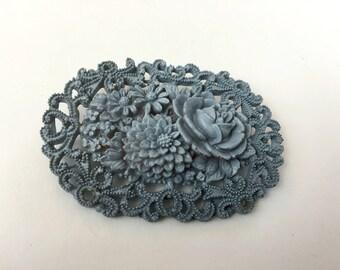 Jahrgang 1960 geformt Kunststoff Stahl blau Oval Blumenbrosche