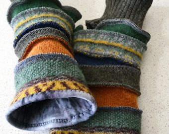 Katwise style Lined Armwarmers / wristwarmers / fingerless gloves in blue green and mustard