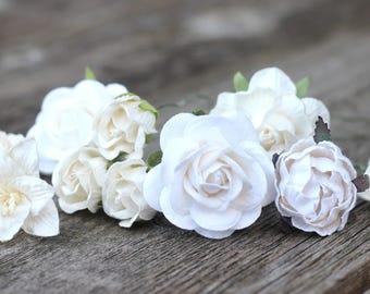 White Bridal Flower Hair Pins - Bobby Hair Pins Ivory - Hair Accessories Bridal - Hair Pins Bridesmaid - Hair Pins Wedding - Flowers White
