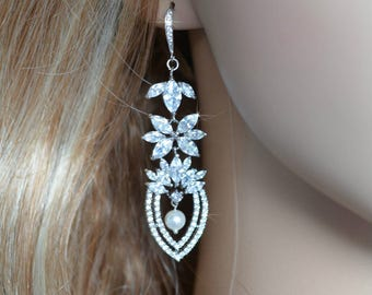 Dramatic Cubic Zirconia CZ and Pearl Chandelier Bridal Earrings, Bridal, Wedding (Sparkle-2665)