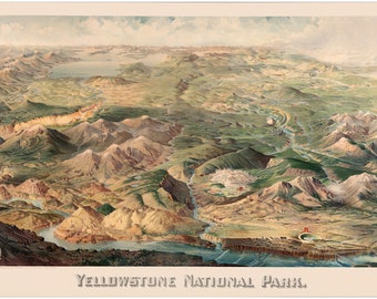 Yellowstone National Park; Drawing by Wellge, 1904