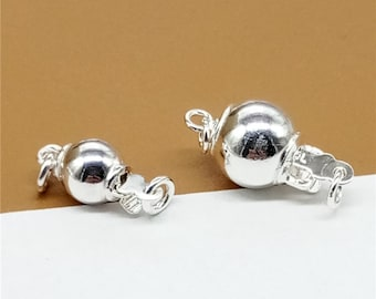 Sterling Silver Ball Clasp w/ Interlocking Hook, Sterling Silver Pearl Clasp, 925 Silver Ball Pearl Clasp, Ball Connector 6mm 8mm - LA197