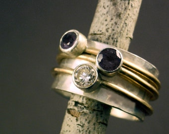Spinning Faceted Gemstone Mother's Ring by donnaodesigns