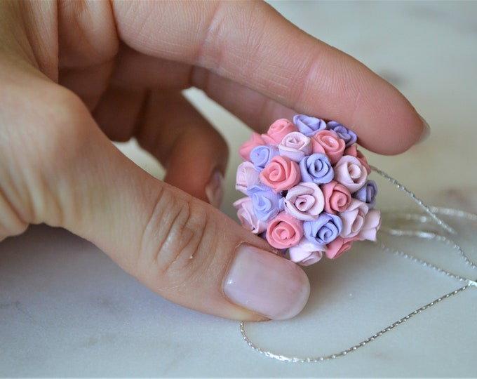 Beautiful handmade rose pendant necklace, romantic summer necklace, wedding jewelry, fimo rose, handmade wedding jewelry, michaelacraft