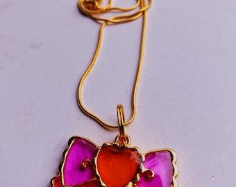 Bow Resin Cast Pendant Goldtone Necklace