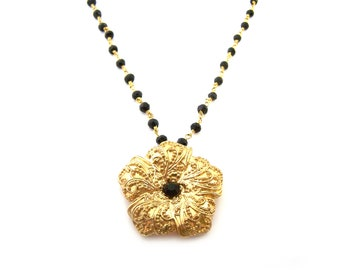 Gold Flower Black Onyx Gemstone Ornate Vintage Inspired OOAK Gold Filled Wire Wrapped Necklace - Gift for Her