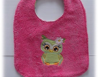GIRL OWL COTTON AND TERRY BIB