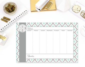 Mint & Gray Swirl Personalized Weekly Desk Planner, Desktop Planner, Desk Calendar 52 Page Weekly Desktop Planner