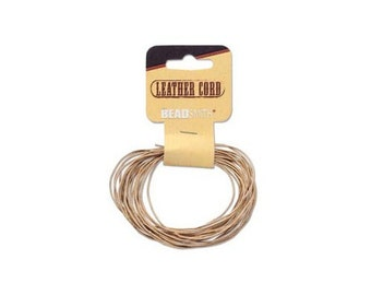 0.5mm Natural Leather Cord 41642 (5 yards),  Jewelry Cording, Necklace Cord, Bracelet Cording, .5mm Cording, .5mm Leather Cord, Stringing
