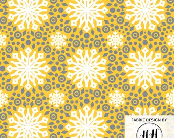 Winter Mod Snowflake Fabric By The Yard - Yellow and Silver Snowflake Retro Mod Print in Yard & Fat Quarter
