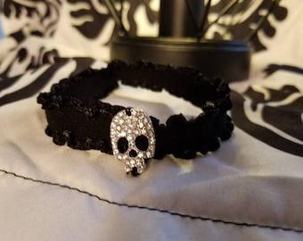 Skull and black soft ruffle elastic cuff bracelet