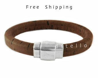 Spanish cork bracelet, Custom mens bracelet, Genuine cork around a leather core - Men's jewelry - Gift for him  - Anniversary gifts