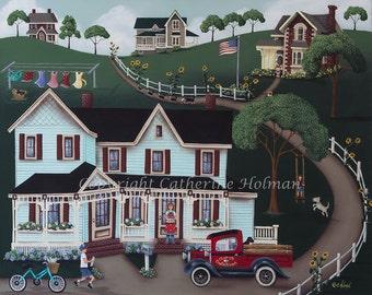Sunflower Lane Original Folk Art Painting by Catherine Holman