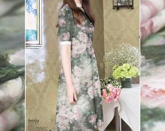 Pink Roses Silk Chiffon Fabric By The Yard