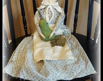 Primitive Prairie Doll, Prairie Doll, faceless doll, prairie, farmhouse, primitive, folk art, doll, primitive doll, folk art doll