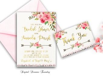 Spring Boho Bridal Shower Boho Bridal Shower Invitation Romantic Roses Bridal Shower Invite Bohemian Bridal Shower Printable Bridal Invite