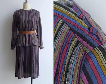 Vintage 80's Rainbow Nine Layer Cake' Striped Plissé Pleated Dress S or M