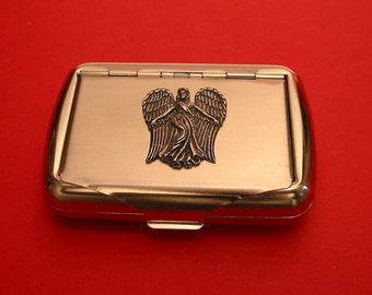 Guardian Angel Chrome Tobacco Tin With Hand Cast Pewter Motif Smoking Accessories