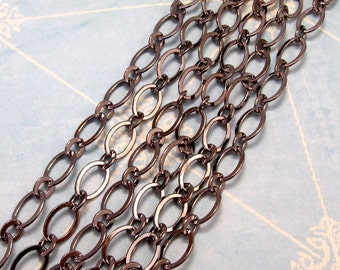 Flat Oval Chain Soldered 9mm Gunmetal 3' GM01