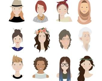 Custom Illustration Personal Portrait Avatar for User Profiles, Social Media Icons, Blogs (digital file)