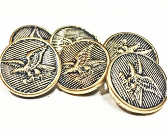 Brass Eagle Small Buttons - Gold Tone Bald Eagle Buttons - US Bald Eagle Icon Buttons - Craft Buttons -  Jewelry Supplies - B 57 - 6 Buttons