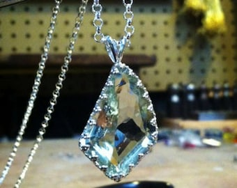 23 ct Green Amethyst Necklace - 23 Carat  Fancy Cut Natural Gem - Sterling Silver Crown Bezel - Hand Forged
