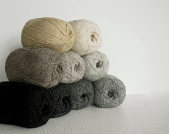 Wool yarn for knitting, crochet-100% natural wool yarn set in black, grey, white and cream colors